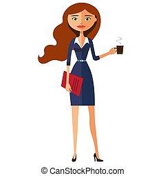 carroty, vrouw zaak, plat, theekop, jonge, illustratie, vector, teapot., spotprent