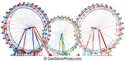 carrousel, champ, coloré, silhouette