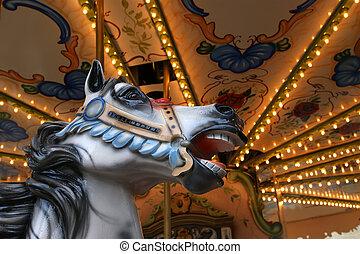 carrousel, dans, paris, près, tour eiffel