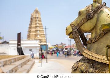 Carrousel horse and Sri Chamundeshwari Devi Temple, Mysore, India
