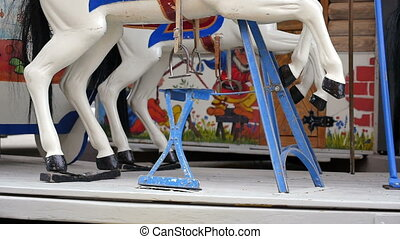 HD 1080p - Old style carrousel in the city of Zurich. Kids and families loved the attraction and made the young children very happy.