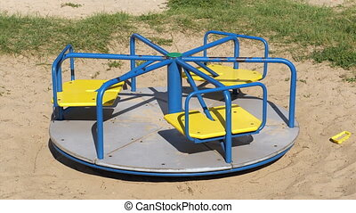 carrousel, vide, rotation, 4k, -, cour de récréation