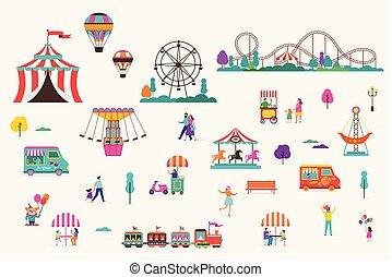 carrousels, air, coaster., rouleau, cirque, amusement, ballons, foire, carnaval, ensemble, icône, parc, amusement