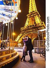carrousels, tour, nuit, eiffel, paris., amants