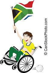 carrozzella, africa, bandiera, ventilatore, sport, sostenitore, sud