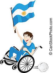 carrozzella, bandiera, ventilatore, argentina, sport, sostenitore