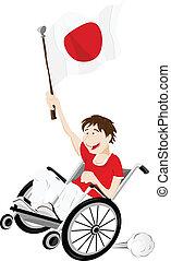 carrozzella, bandiera, ventilatore, giappone, sport, sostenitore