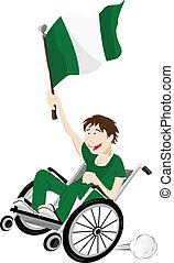 carrozzella, bandiera, ventilatore, nigeria, sport, sostenitore