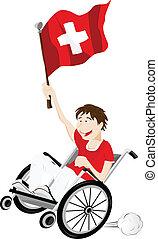carrozzella, bandiera, ventilatore, svizzera, sport, sostenitore