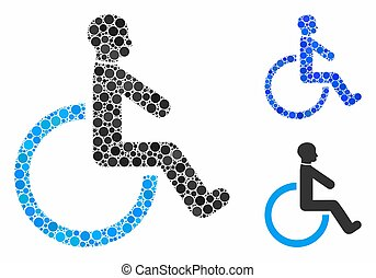 carrozzella, cerchio, punti, mosaico, icona