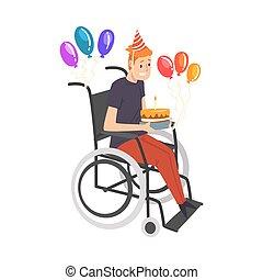 carrozzella, handicappato, festeggiare, vettore, compleanno, pieno, godere, uomo persona, illustrazione, vita