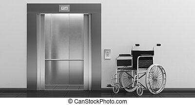 carrozzella, illustrazione, doors., ascensore, aperto, vuoto, 3d