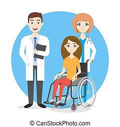 carrozzella, illustrazione, invalido, persona, vettore, doctors.