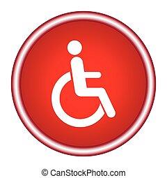 carrozzella, -, isolato, segno, invalido, vettore, bianco, icona