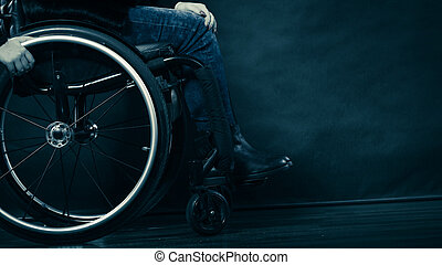 carrozzella, ragazza donna, invalido, seduta