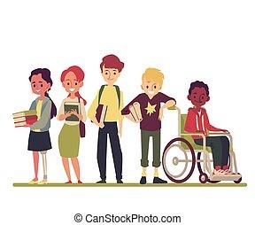 carrozzella, ragazza, standing, protesico, invalido, ragazzo, gambe, friends.