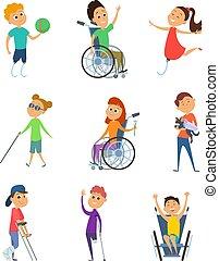 carrozzella, stile, persone., cartone animato, invalido, vettore, caratteri, disability., bambini, kids.