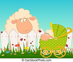 carrozzina, sheep, scarabocchio
