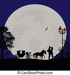 carruagem, amantes, noturna