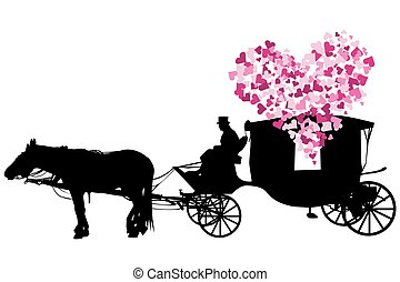 carruagem, amor, fundo branco