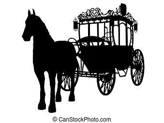 carruagem, antigas, dois