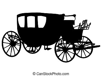 carruagem, antigas, três