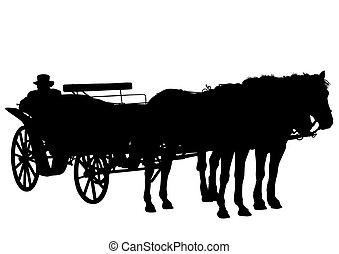 carruagem, antigas, um