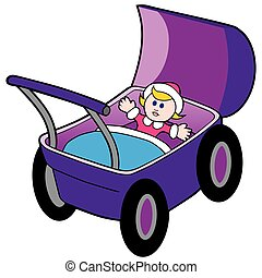 carruagem bebê, boneca