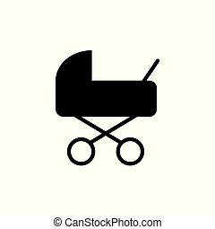 carruagem bebê, pram, ícone