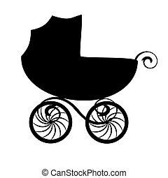 carruagem bebê, silueta, isolado