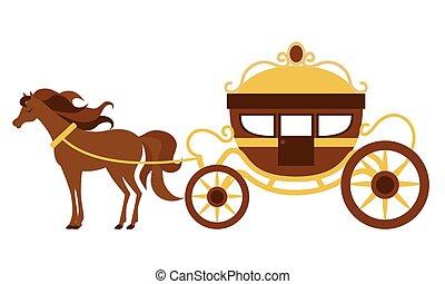 carruagem, bonito, horse., vetorial, ilustração, transporte, vindima