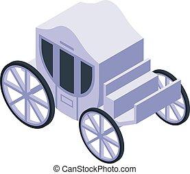 carruagem, branca, real, estilo, isometric, ícone