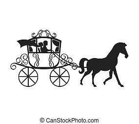 carruagem, casório, desenho, isolado, ícone