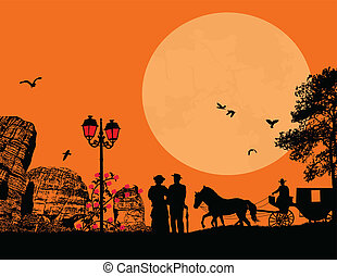 carruagem, cavalo, antigas, par, pessoas
