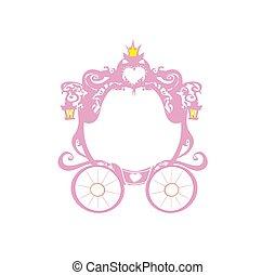 carruagem, cor-de-rosa, quadro, vindima, decorativo