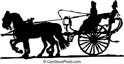 carruagem, silueta