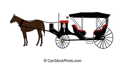 carruaje, dibujado, caballo