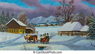 carruaje, gente, dos, tirado por caballos, sentado