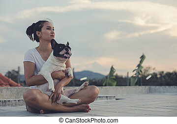 carry on french bulldog - Girl carry on french bulldog and...