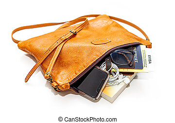 Carry-on Handbag With Travel Documents - Small purse carry...