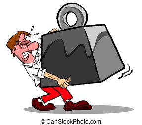 Carry that weight.WBG. - Cartoon man carrying ton weight; on...