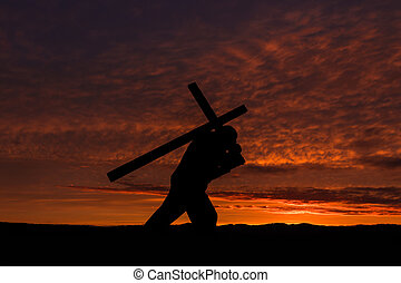 Carry Your Cross - Man carrying a cross on his back with a...