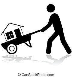 Carrying a house - Concept illustration showing a man...