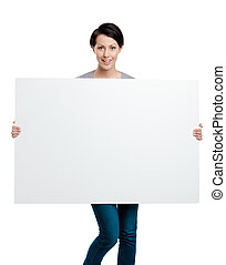 Carrying a huge sheet of white cardboard