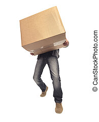 carrying and lifting box - Stock Image - shot of man...