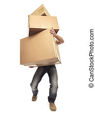 carrying and lifting boxes - Stock Image - shot of man...