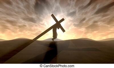 carrying, , cross.