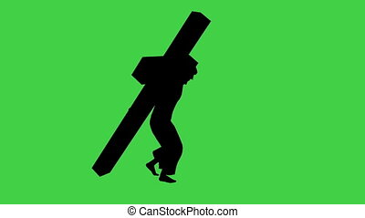 Carrying The Cross - seperated on green screen - 3d...