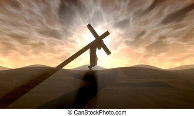 Carrying the cross.