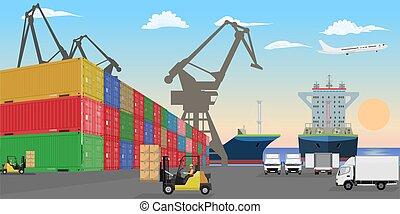 cars., élévateur, bateaux, détaillé, récipients, port mer, élevé, dock., fret, vecteur, plat, illustration., cargaison, empilé, voitures